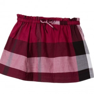 BURBERRY Baby Girls Dark Plum Pink Check Skirt