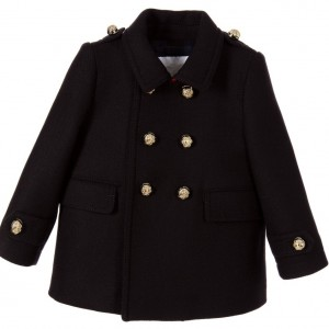 BURBERRY Baby Girls Navy Blue Wool Military Coat