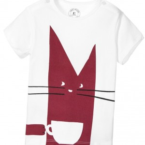 BURBERRY Baby Girls White T-Shirt with Pink Cat Print