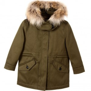 BURBERRY Boys Olive Green Fur Trim Parka Coat