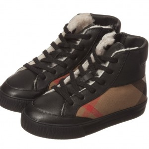 BURBERRY Girls Black & Beige Check Shearling Lined High-Top Trainers