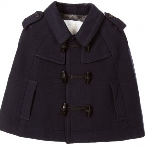 BURBERRY Girls Blue Wool & Cashmere Duffle Cape