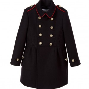 BURBERRY Girls Navy Blue Wool Military Coat