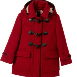 BURBERRY Girls Red Wool Hooded Duffle Coat