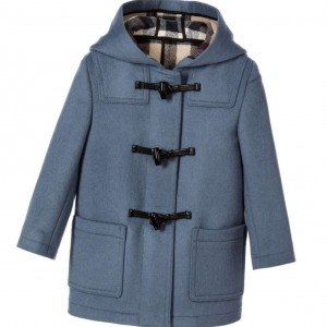 BURBERRY Mid-Blue Wool Baby Duffle Coat