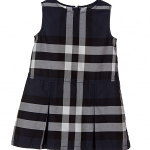 BURBERRY Navy Blue Check Sleeveless Dress