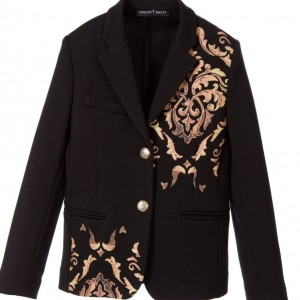 CESARE PACIOTTI Boy Black Patterned Blazer