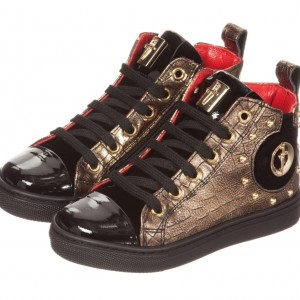 CESARE PACIOTTI Gold, Black & Red Leather High-Top Trainers