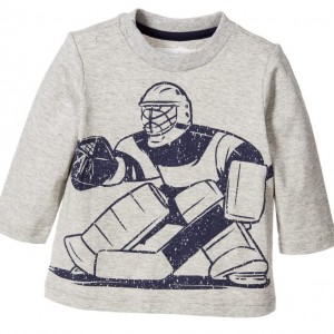 DEUX PAR DEUX Boys Grey Cotton Ice Hockey Player T-Shirt