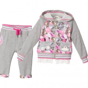 DEUX PAR DEUX Girls Grey Floral 'Fluffy Friends' Tracksuit