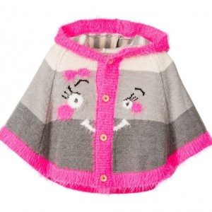 DEUX PAR DEUX Pink & Grey Hooded 'Little Monstress' Cape
