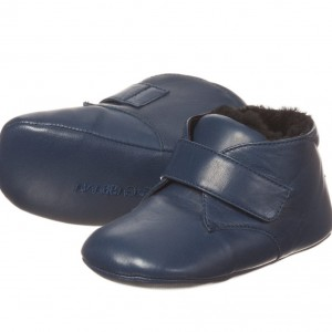 DOLCE & GABBANA Baby Boys Blue Leather Pre-Walker Shoes