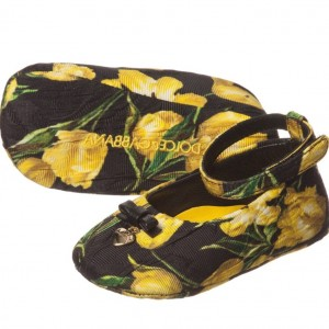 DOLCE & GABBANA Baby Girls Black & Yellow Tulip Print Pre-Walker