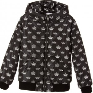 DOLCE & GABBANA Boys Black Crown Print Padded Jacket