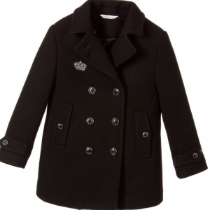DOLCE & GABBANA Boys Black Wool & Cashmere Coat
