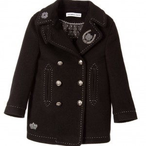 DOLCE & GABBANA Boys Black Wool & Cashmere Reefer Coat
