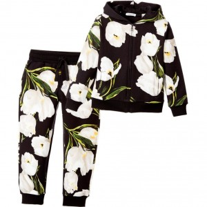 DOLCE & GABBANA Girls Black & White Cotton Tulip Tracksuit