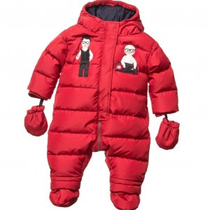 DOLCE & GABBANA Red 'DG Family' Down Padded Baby Snowsuit