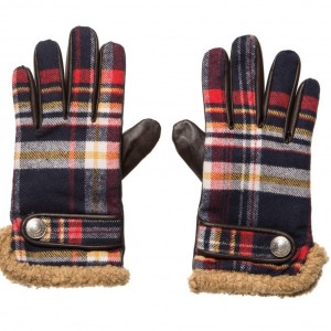 DSQUARED2 Blue Tartan Leather Gloves