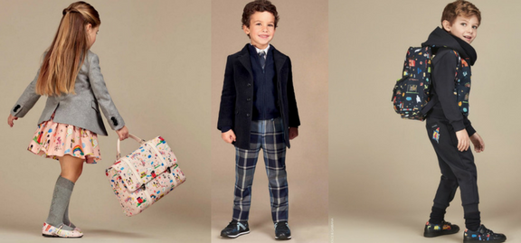 An enormous selection of traditional, but Dolce & Gabbana stylish wear for school is waiting for fashionable schoolboys and schoolgirls