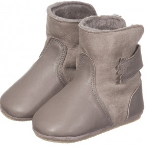 EASY PEASY Grey Leather 'Chobottes' Sheepskin Slipper Boots