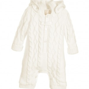 EMILE ET ROSE Baby Ivory Cotton Knitted Pramsuit