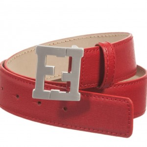 FENDI Red Leather Belt with Logo Buckle