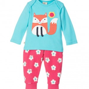 FRUGI Blue & Pink Organic Cotton 2 Piece Trousers Set