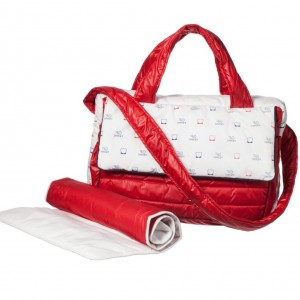 GF FERRE Red & White Logo Baby Changing Bag & Mat