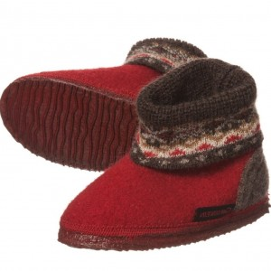 GIESSWEIN Red Boiled Wool Austrian Slippers