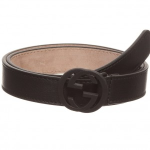 GUCCI Black Leather Belt with 'G' Buckle