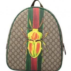 GUCCI Boys Beige & Green 'GG' Canvas Beetle Backpack
