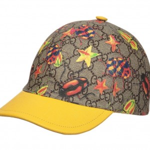 GUCCI Yellow & Beige 'GG' Cap with Beetles