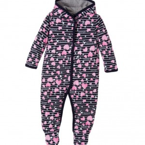 GUESS Baby Girls Pink Heart Print Padded & Hodded Pramsuit