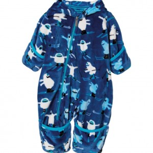 HATLEY Baby Boys Blue Ski Monster Fleece Pramsuit