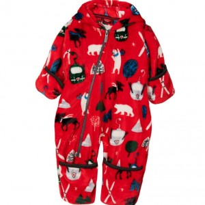 HATLEY Baby Boys Red 'Vintage Ski' Fleece Pramsuit