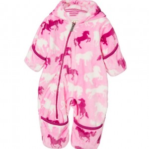 HATLEY Baby Girls Pink 'Horses' Fleece Pramsuit