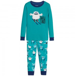 HATLEY Boys Turquoise Blue 'Ski Monsters' Pyjamas