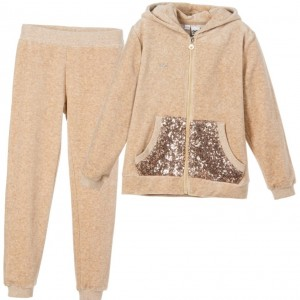 IDO JUNIOR Girls Beige Velour Tracksuit with Sequin Pockets