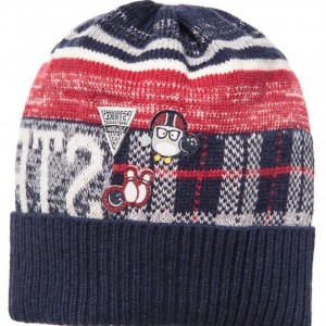 IDO MINI Baby Boys Navy Blue Wool & Cotton Knitted Hat
