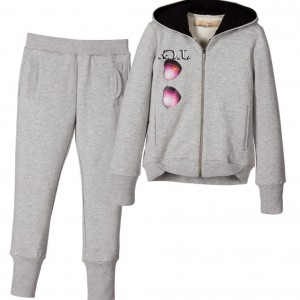JOHN GALLIANO Girls Grey Cotton Hooded Sunglasses Tracksuit