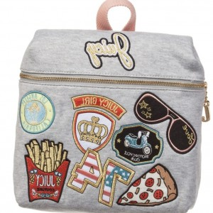 JUICY COUTURE Girls Grey Patch Jersey Backpack