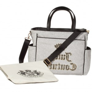 JUICY COUTURE Grey Velour Baby Changing Bag