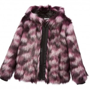 KARL LAGERFELD KIDS Girls Pink & Purple 'Krazy Party' Fur Jacket