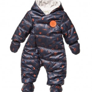 KENZO Baby Boys Navy Blue 'Tiger Friends' Snowsuit