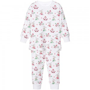 KISSY KISSY White 'Christmas' Print, Pima Cotton Pyjamas
