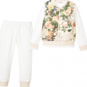 LAURA BIAGIOTTI DOLLS Girls Ivory & Gold Cotton Floral Tracksuit