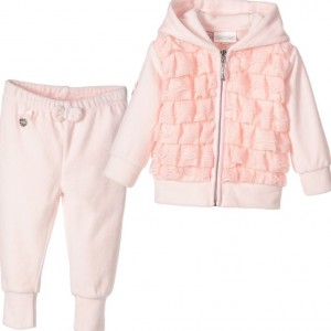 LE CHIC Baby Girls Pink Hooded Velour Tracksuit