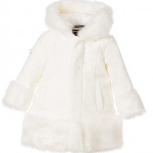 LE CHIC Ivory Hooded Coat with Synthetic Fur & Pearls