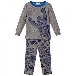 LITTLE MARC JACOBS Boys Grey & Blue Printed Pyjamas